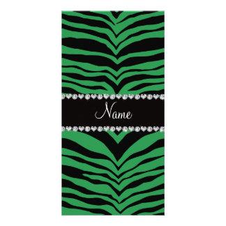 Personifizieren Sie grüne Tigernamensstreifen Photogrußkarten
