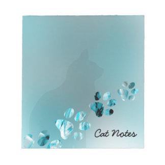 Personifizieren Sie Katzen-Tatzen-Drucke für Notizblock
