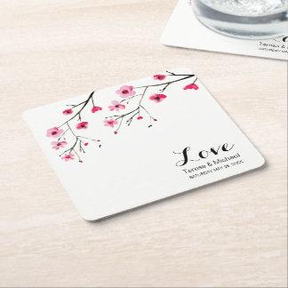 Personifizieren Sie Kirschblüten-Aquarell-Hochzeit Rechteckiger Pappuntersetzer