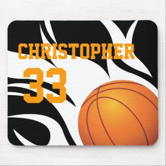 Personifizieren Sie lodernden Basketball B/W Mousepad