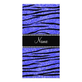 Personifizieren Sie Namensblaue Glitter Zebraneons Photokartenvorlage