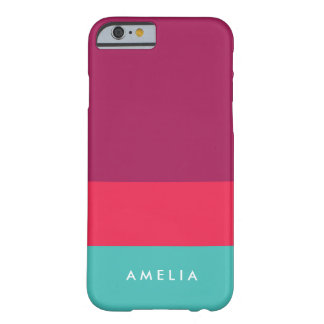 Personifizieren Sie Namensfarbblock-lila rosa Barely There iPhone 6 Hülle
