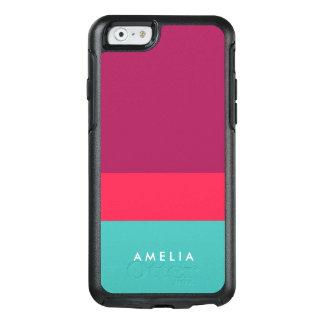 Personifizieren Sie Namensfarbblock-lila rosa OtterBox iPhone 6/6s Hülle
