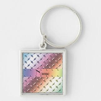 Personifizieren Sie Namensregenbogendiamant-Platte Silberfarbener Quadratischer Schlüsselanhänger