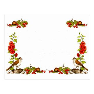 Personifizieren Sie: Natur-Rahmen: Vögel, Blumen, Postkarte