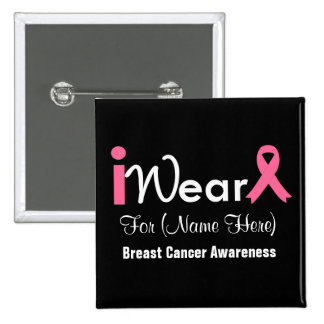 Personifizieren Sie rosa Band-Brustkrebs Quadratischer Button 5,1 Cm