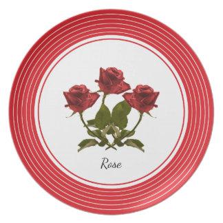 Personifizieren Sie:  Rosen-Blumenphotographie Teller