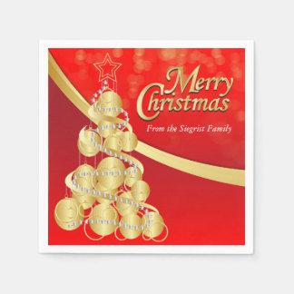 Personifizieren Sie Rot u. Goldfrohe Weihnachten Papierserviette