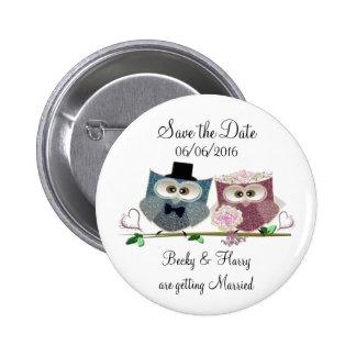 Personifizieren Sie Save the Date Wedding Knopf Runder Button 5,1 Cm