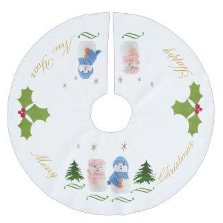 Personifizieren Sie, Schneemann- und Schneefrau Polyester Weihnachtsbaumdecke