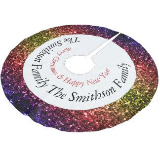 Personifizieren Sie schöne Regenbogen-Glitzern v2 Polyester Weihnachtsbaumdecke