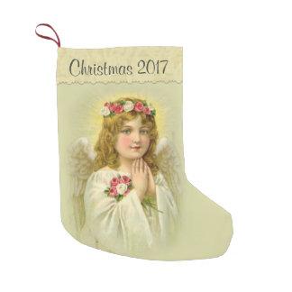 Personifizieren Sie schönen Engel mit Rosen Kleiner Weihnachtsstrumpf