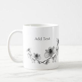 Personifizieren Sie Schwarzweiss-Orchidee Kaffeetasse