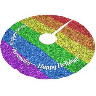Personifizieren Sie vibrierende Glitzern LGBT Polyester Weihnachtsbaumdecke