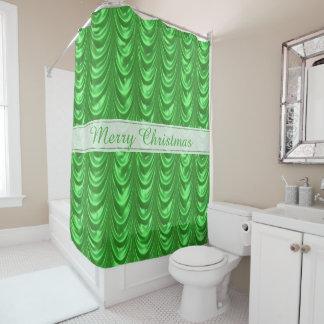 Personifizieren Sie Weihnachtsgrün mit Rüschen Duschvorhang