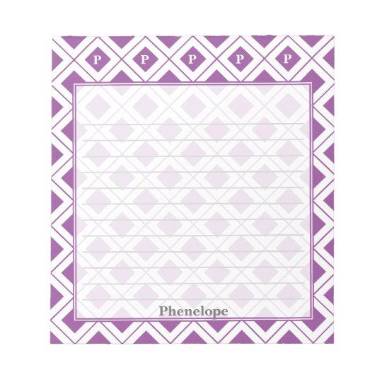 Personifizieren Sie: Zeichnen Sie die lila/weißen Notizblock