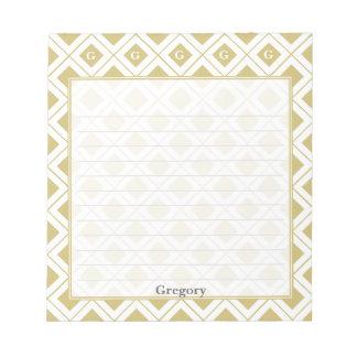 Personifizieren Sie: Zeichnen Sie Gold/weiße Notizblock