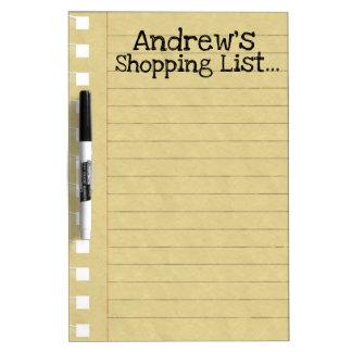 Persönliche Einkaufsliste Trockenlöschtafel
