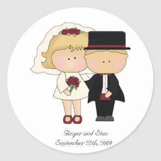 Persönlicher Hochzeits-Aufkleber Runder Aufkleber