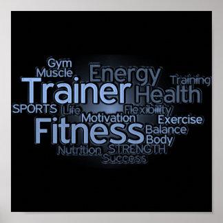 Persönlicher Trainer oder Fitness-Mittelplakat Poster