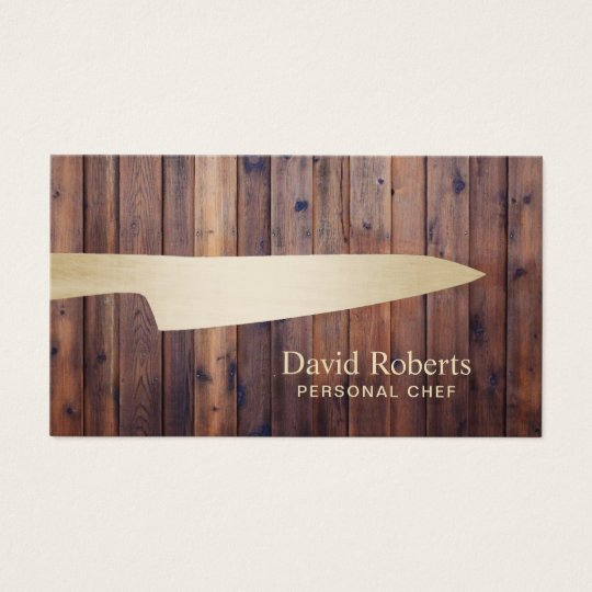 Persönliches Kochs-Catering-Goldmesser-rustikales Visitenkarte