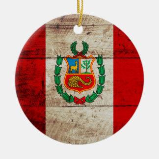 Peru-Flagge auf altem hölzernem Korn Keramik Ornament