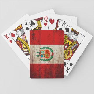 Peru-Flagge auf altem hölzernem Korn Spielkarten
