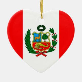 Peru-Flagge Keramik Herz-Ornament