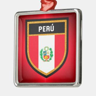 Perú Flagge Quadratisches Silberfarbenes Ornament
