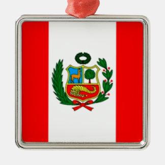 Peru-Flagge Quadratisches Silberfarbenes Ornament