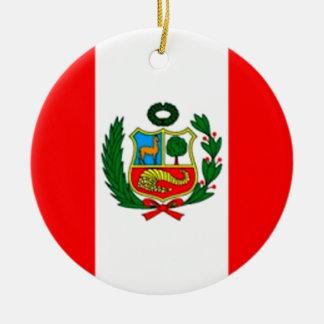 Peru-Flagge Rundes Keramik Ornament