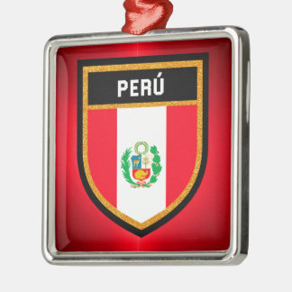 Perú Flagge Silbernes Ornament