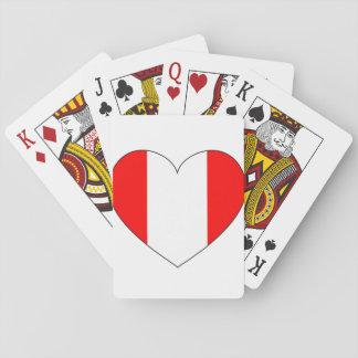 Peru-Flaggen-Herz Spielkarten