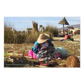 Peru-Frauen-nähende Stickerei Photo Druck