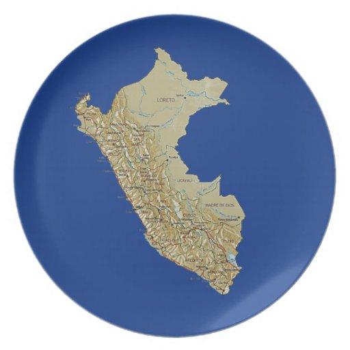 Peru-Karten-Platte Flacher Teller