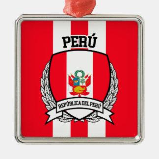 Peru Quadratisches Silberfarbenes Ornament