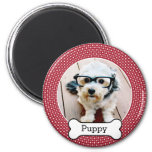 Pet Foto mit dem Hundeknochen - rote Polkapunkte Kühlschrankmagnete