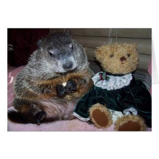 Pet Groundhog Maude mit ihrer Mitteilungskarte