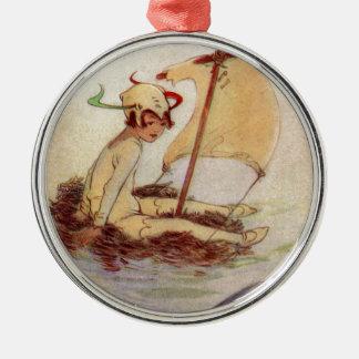 Peter Pan auf Nest-Floss Rundes Silberfarbenes Ornament