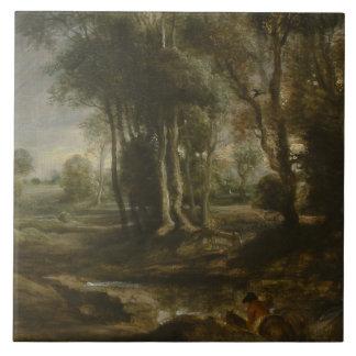 Peter Paul Rubens - Abends-Landschaft mit Bauholz Fliese