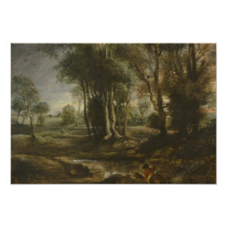 Peter Paul Rubens - Abends-Landschaft mit Bauholz Fotodruck
