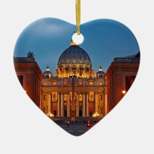 Petersdom in Rom - Italien Keramik Herz-Ornament