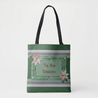 Petersilien-Poinsettia-Streifen Tasche