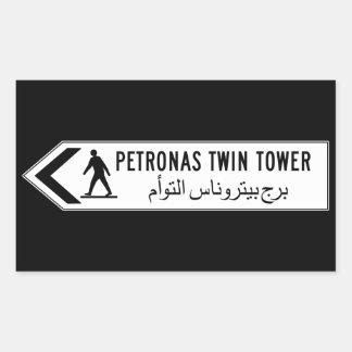 Petronas-Twin Tower, Kuala Lumpur, Malaysia Rechteckiger Aufkleber