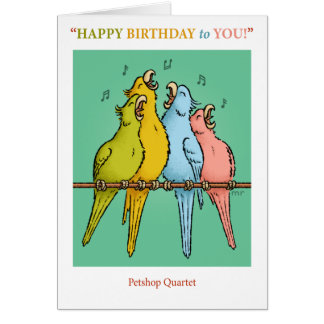 Petshop Quartett-Geburtstags-Karte