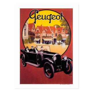 Peugeot-Automobil-förderndes Plakat Postkarte