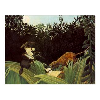 Pfadfinder angegriffen durch einen Tiger Postkarte