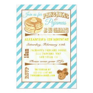 Pfannkuchen-und Pyjama-Geburtstags-Party Individuelle Einladung