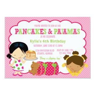 Pfannkuchen und Pyjamassleepover-Party 12,7 X 17,8 Cm Einladungskarte