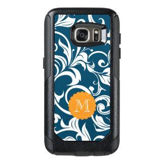 Pfau-Blau-Blumentapeten-Strudel-Monogramm OtterBox Samsung Galaxy S7 Hülle